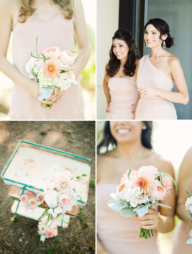 pink bridesmaids dresses and dahlias