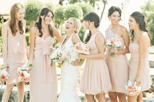 Bridesmaids In Pink Dresses Rustic Wedding Decor