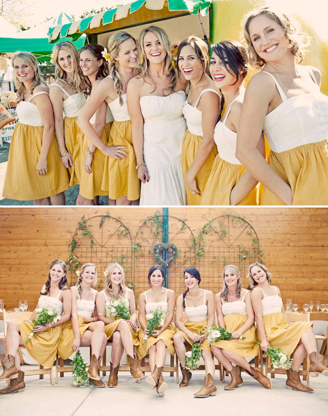 bridesmaids in anthropologie dresses
