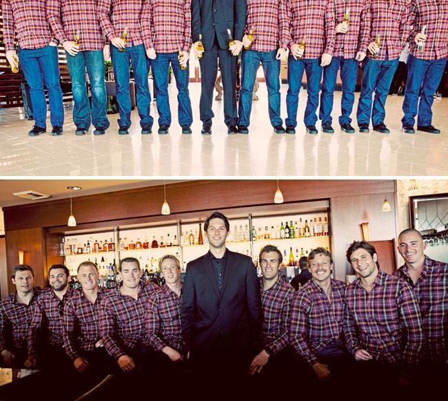groomsmen in flannel