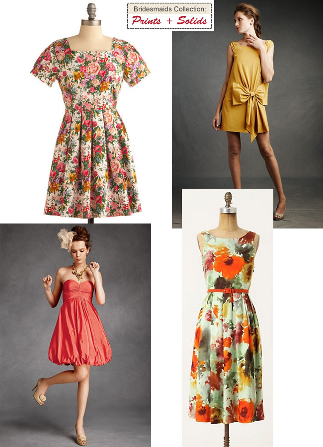 print and solid bridesmaids dresses