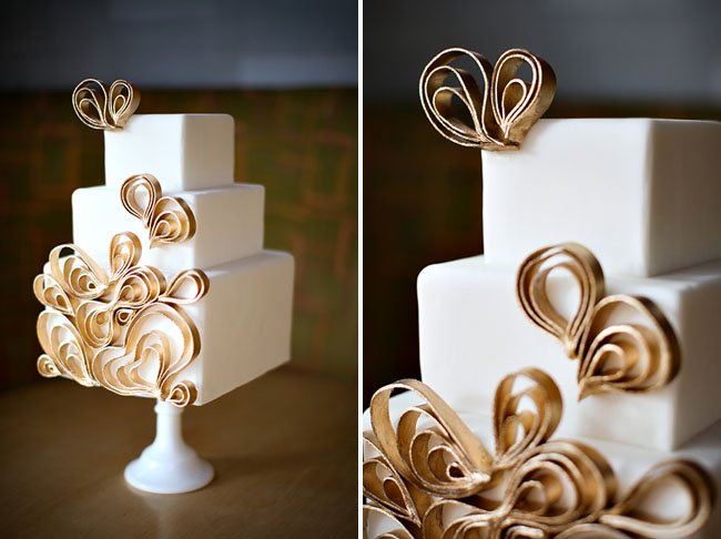 wedding cake with thin flowers