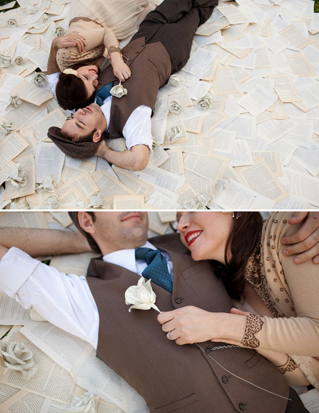 engagement photos with pages from books