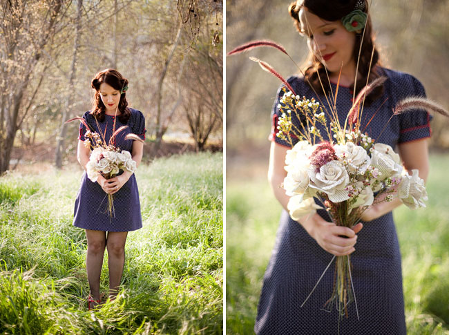 engagement photos with flowers made from pages of books