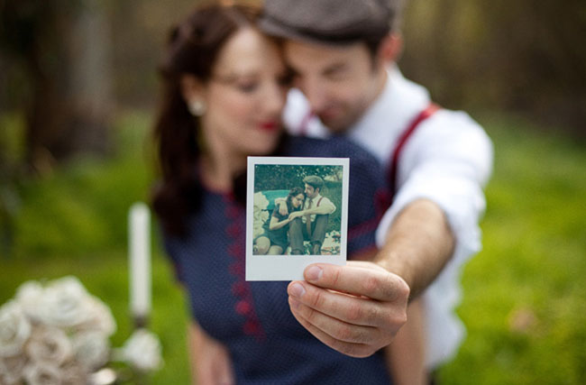 engagement photos with a Polaroid