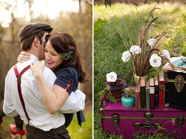 engagement photos with paper flowers