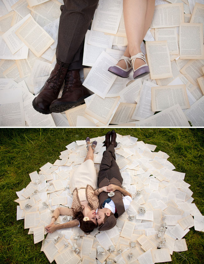 engagement photos with pages from a book