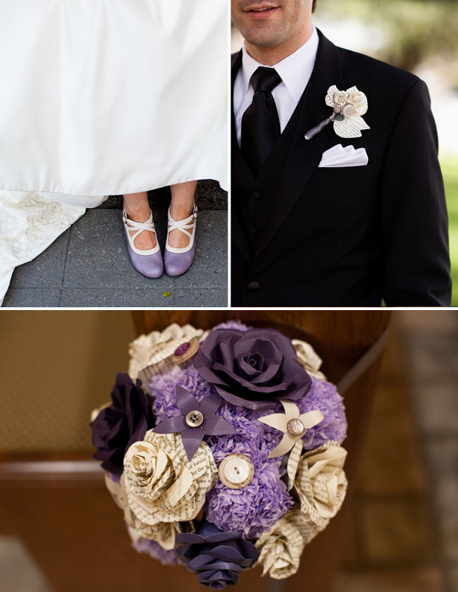 paper flowers wedding purple
