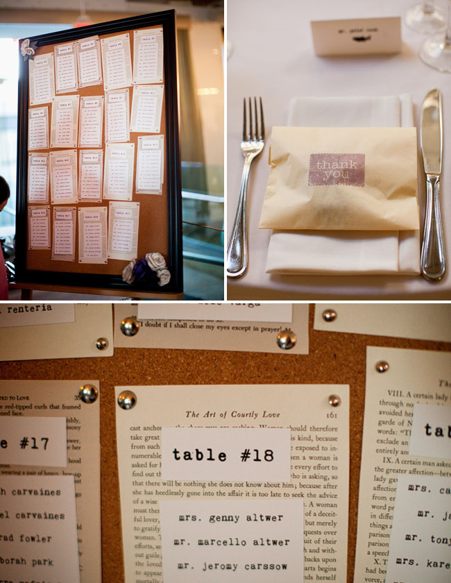 book pages for table seating chart