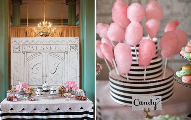 Parisian backdrop for the dessert bar