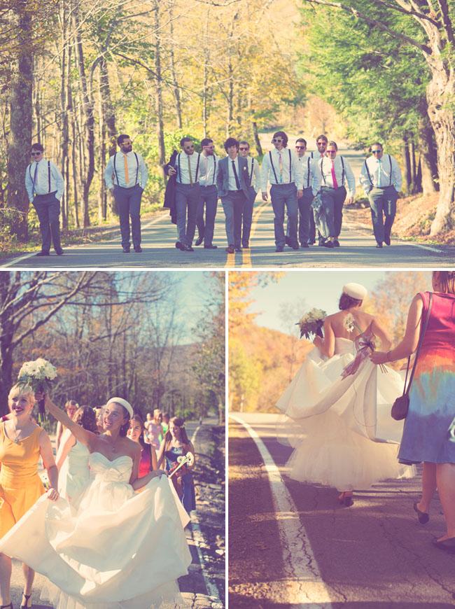 groomsmen in rainbow suspenders