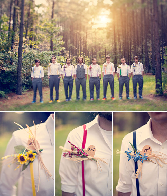 Diy bohemian rainbow wedding jenn matt green wedding shoes groomsmen in rainbow suspenders junglespirit