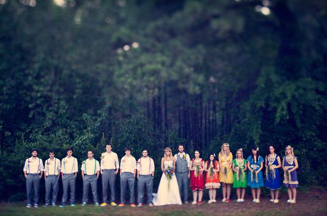Diy bohemian rainbow wedding jenn matt green wedding shoes rainbow wedding bridal party junglespirit Image collections