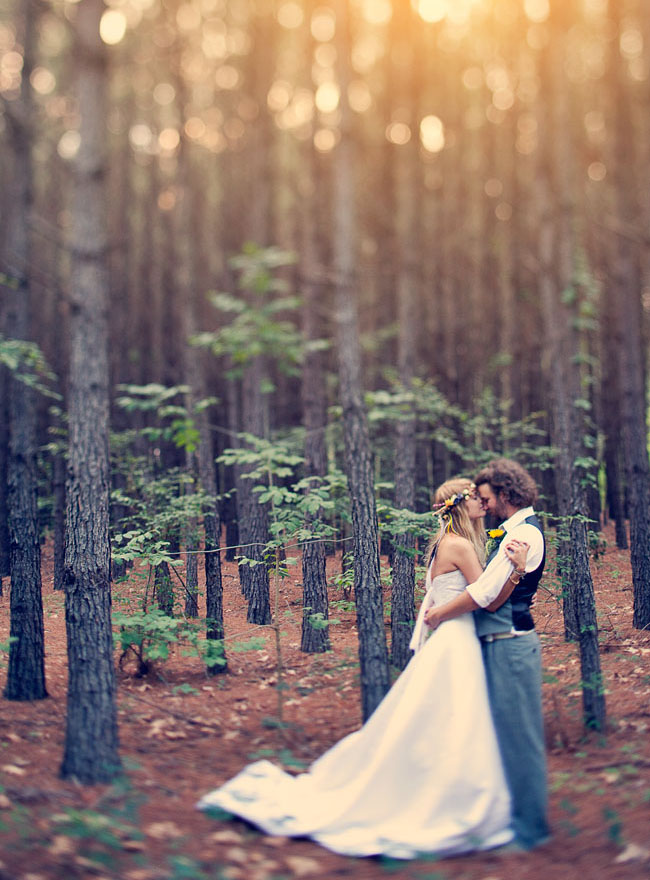 bride and groom in woods