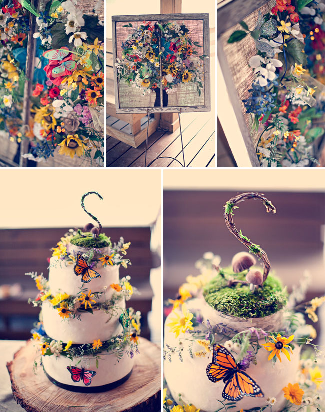rainbow butterfly wedding cake diy bohemian rainbow wedding jenn matt green wedding 18957
