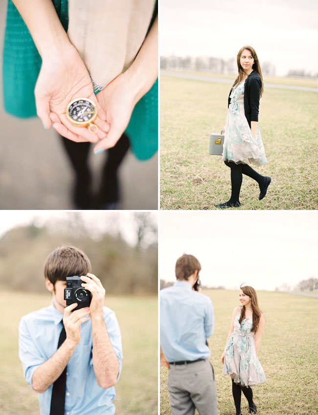 engagement photos with film