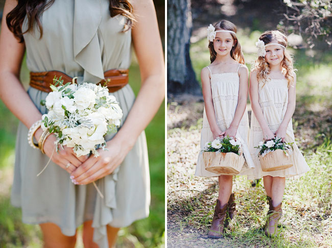 flower girls holding wooden baskets