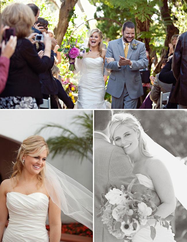 bride and groom leaving wedding