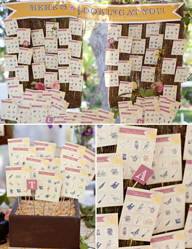 guest seating table bingo wedding