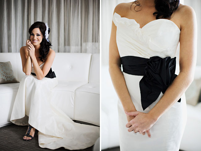 wedding dress with black belt