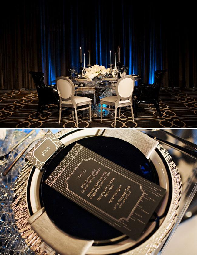 modern glam wedding reception