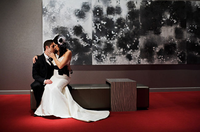 bride and groom at w hotel