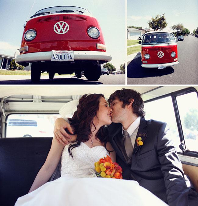 vw red van wedding car