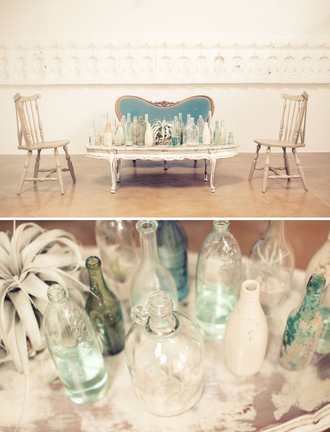airplant glass bottles wedding decor