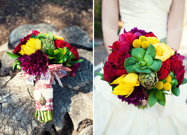 green red and yellow wedding bouquet