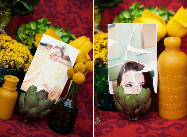 amelie torn photos table decor wedding