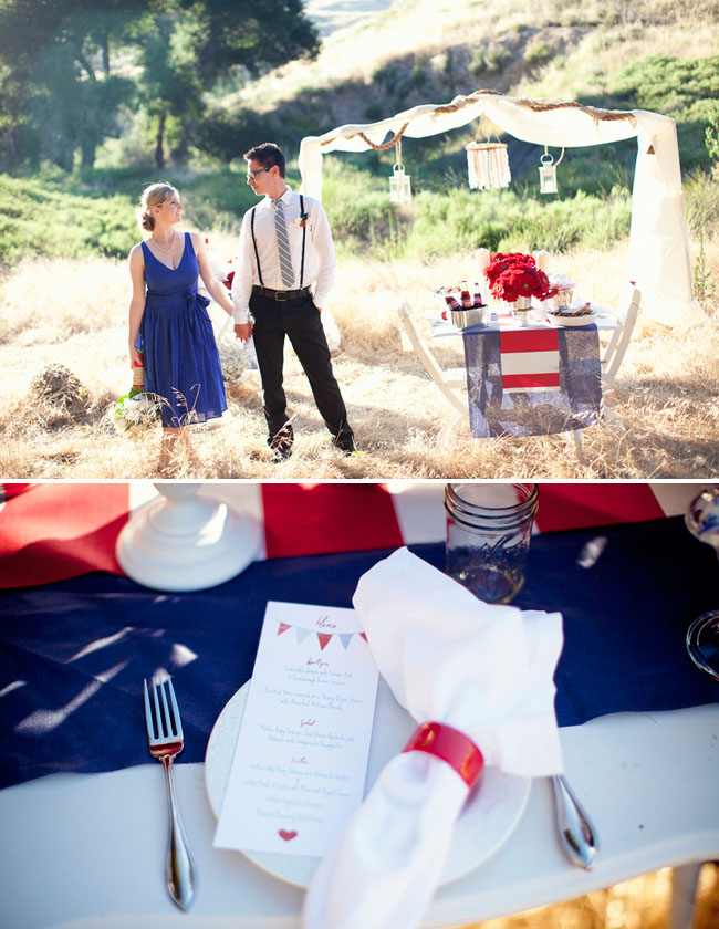 red white blue wedding decor