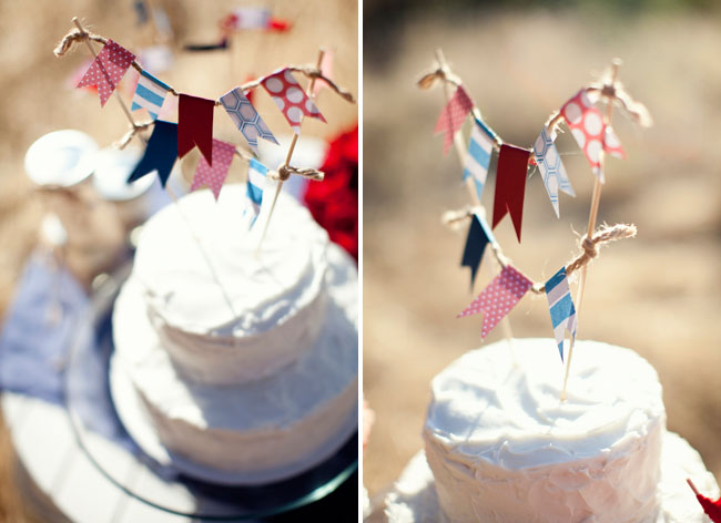 wedding cake with fabric bunting