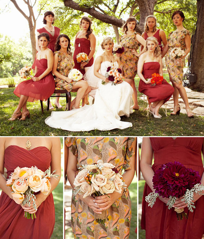 An anthropologie inspired wedding in texas green wedding shoes bridesmaids in shades of red junglespirit Choice Image
