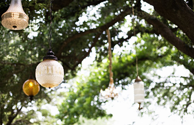 hanging lanterns wedding ceremony