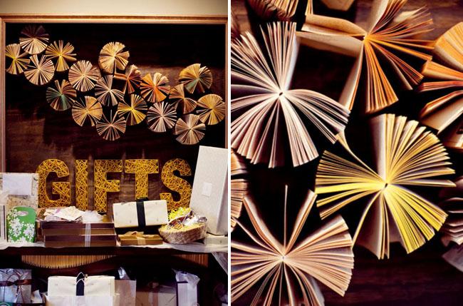 books as gift table display wedding anthropolgie