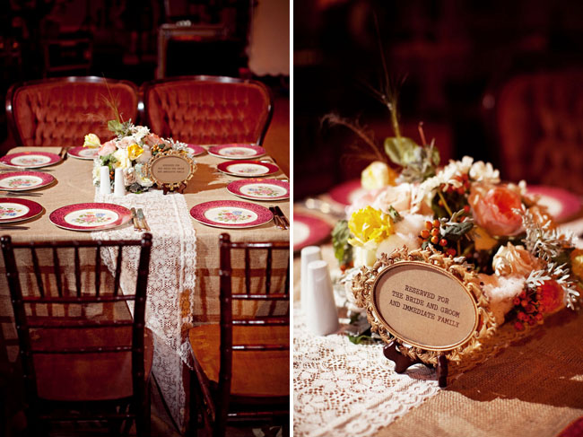 vintage wedding reception table plates