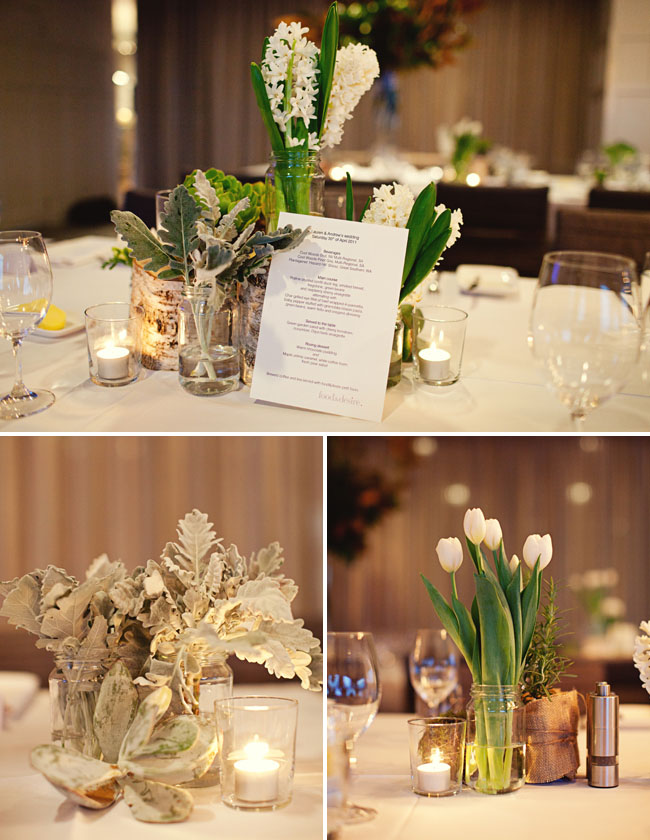 white tulips centerpiece