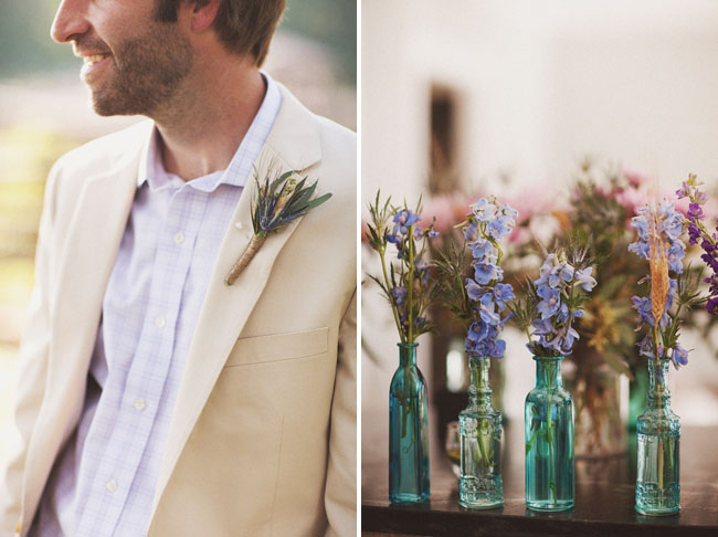 blue glass jars wedding decor