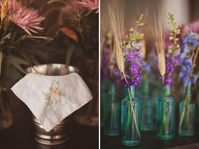 blue glass jars wedding decor