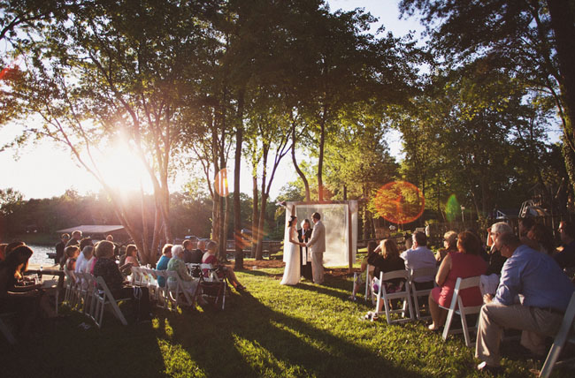 backyard wedding by a lake