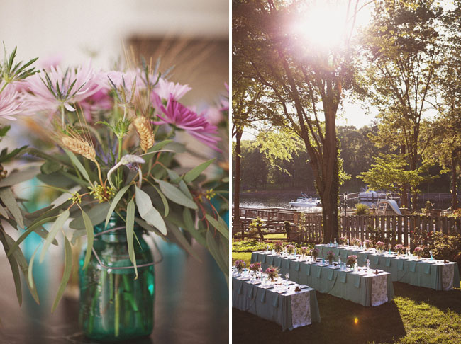 backyard-wedding-reception tables