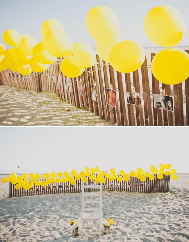 beach engagement with balloons