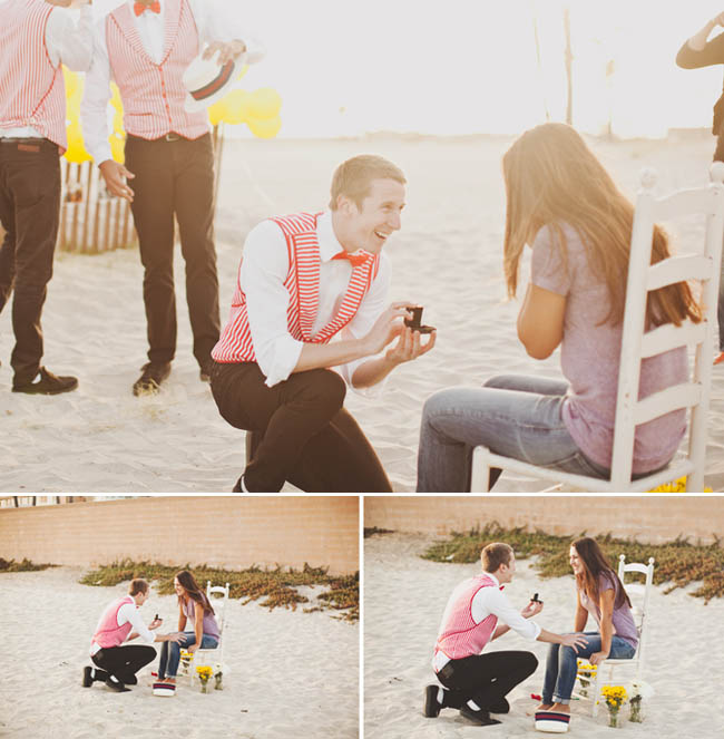 proposal with barbershop quartet on the beach