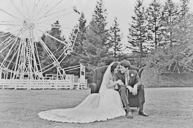 wedding at an amusement park
