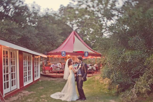 wedding at an amusement park