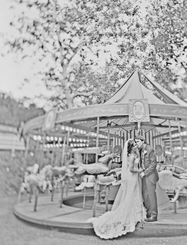 calamigos-ranch-wedding carousal bride and groom