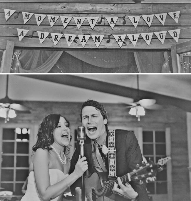 bride and groom singing at wedding