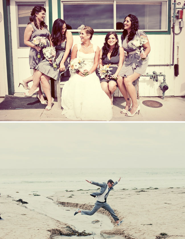 bridesmaids at the beach