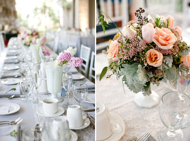 white table with pink flowers