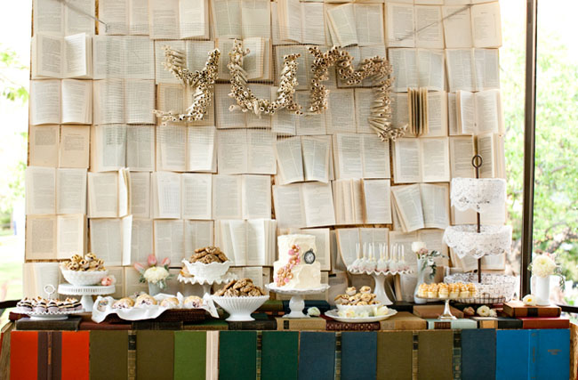 dessert table with book backdrop